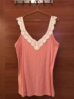 Pink Top with lace applique