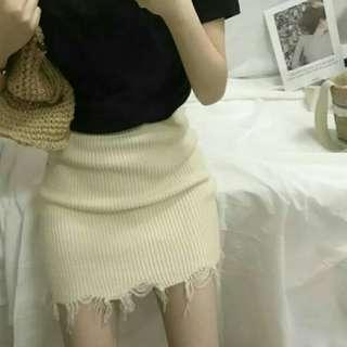 🔥SALES [INS] Knitted Frayed Skirt