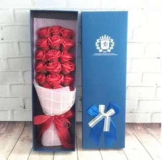 Graduation Birthday Anniversary Romantic Rose Soap Bouquet in Red