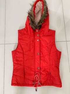 Autumn Vest with Furry Hoodie