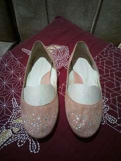 Old Rose/Pink Flats with blings