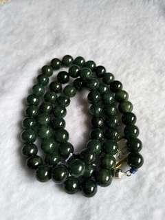 Jadeite necklaces 8.6mm 油青翡翠项链