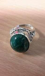 Vintage handmade silver 925,malachite and chrysocolla stone ring