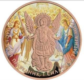 Ukraine 2017 1 Grivna Archangel Michael Freska 1oz Gilded Silver Coin