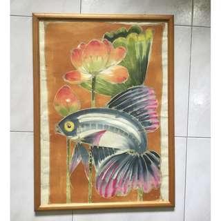 Batik painting art — Beta fish with lotus