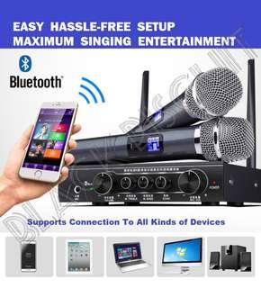 🚚 UHF Wireless Microphone Mixer Karaoke KTV System Receiver w Bluetooth Support