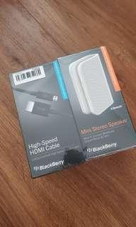 HDMI Cable bundled with mini stereo speaker (BlackBerry)