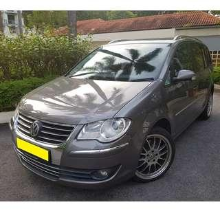 VOLKSWAGEN TOURAN 1.4L MPV - CONTINENTAL HANDLING, SOLID, COMPACT & SPORTY, POWERFUL ENGINE GRAB/RYDEX/GOJEK READY! MORE INCOME WITH 6 SEATER JOBS!