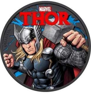 Tuvalu 2018 1$ Marvel Thor 1 Oz 9999 Silver Ruthenium Colored Coin
