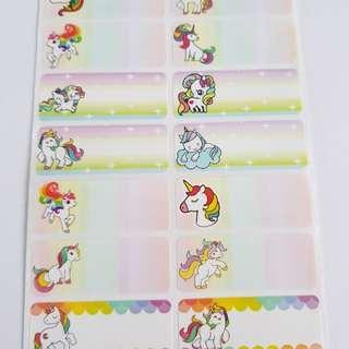 Unicorn Name Stickers