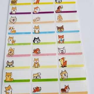 Cute dogs name stickers