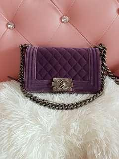 Chanel Leboy Purple Velvet Bag