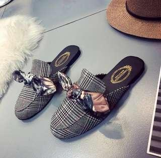 korean ribbon slip on loafers/sandals/slippers