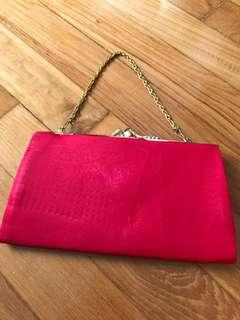 Vintage 80s Satin Fabric Magenta Clutch or Purse BNwoT