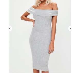 Brand new grey bodycon midi dress