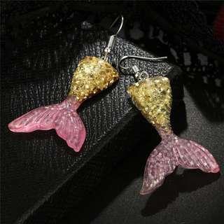 Glittered Mermaid Tail - Yellow & Pink