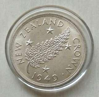 New Zealand 1949 Crown Unc Silver Coin With Luster