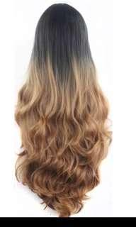 Ombré sunset latte marshmallow curls full wig Centre parting instocks