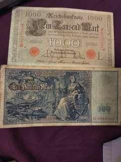 2 100 years old german notes going cheap