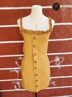 buttondown ruffle dress