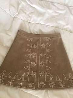Boho Suede Tribal Pattern Khaki Brown Nude Skirt