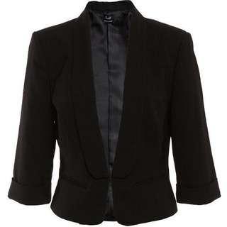 BARDOT Black Crop Blazer Jacket - Size 8/XS