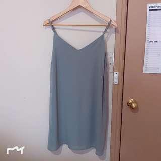 Dusty blue slip dress