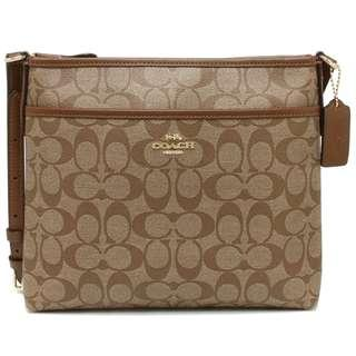 Coach Small File Crossbody Bag In Siganture Coated Canvas Khaki