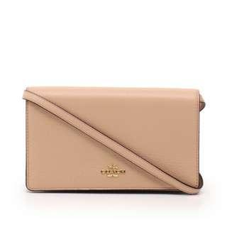 Coach Foldover Clutch Crossbody Nude with Coach Gift Box Nude
