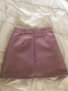 Suede Baby Nude Pink Front Pocket Skirt