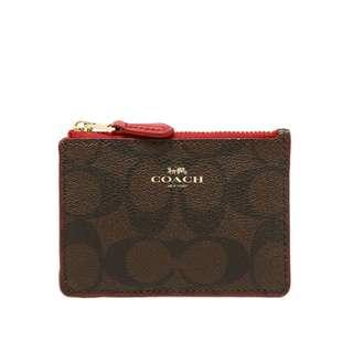 Coach Skinny Card Case With Keyring in Signature Coated Canvas