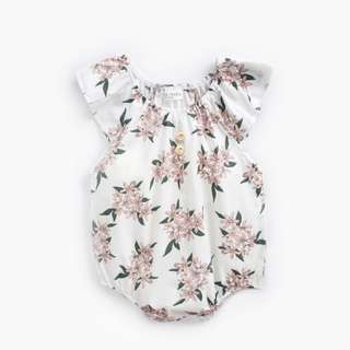 8f677956450d 🌟INSTOCK🌟 Sweet Dusty Pink Floral Rose Overall Onesie Stretchy Collar  Romper for Newborn