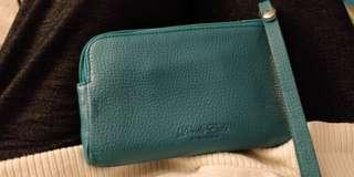 Blue leather wristlet