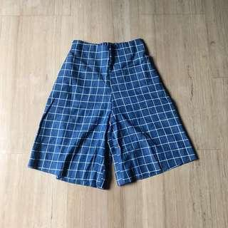 Blue Culottes Knee Length