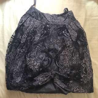 Anna Sui 黑色繡銀線lace半截裙 全新