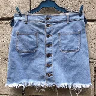 Lightwash Denim Korean Skirt