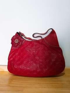 NEW Gucci Red Embossed Handbag