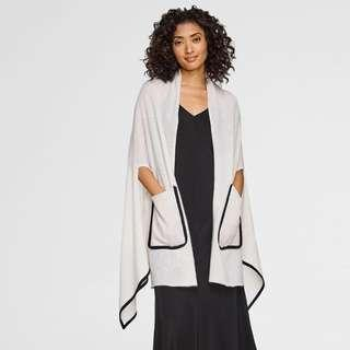 White Warren Contrast Cashmere Cape
