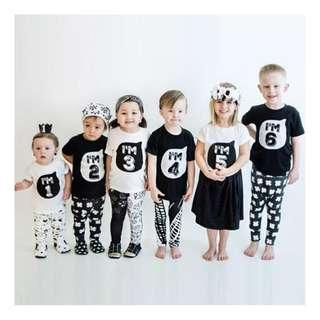 [Ready Stock]Popular Toddler Baby Letter Birthday Age Printed Cotton Blend Summer T-Shirt