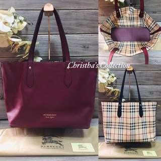 f02f59b3c7 Burberry Haymarket Check Medium Reversible Tote Bag 2 in 1 Reversible Bag  Handbag Shoulder Bag Women's