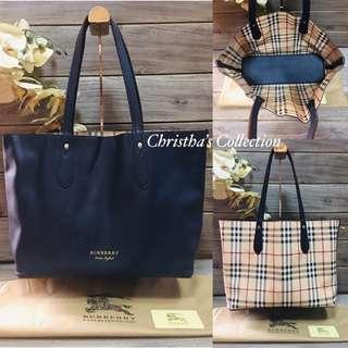 Burberry Haymarket Check Medium Reversible Tote Bag 2 in 1 Reversible Bag Handbag Shoulder Bag Women's Bag NAVY BLUE