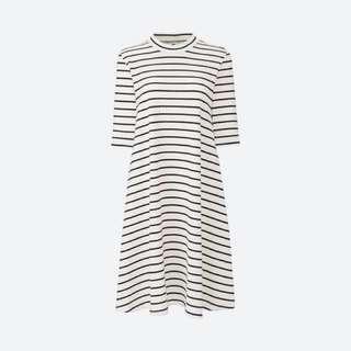 🚚 全新✨Uniqlo 紋棉質寬襬條紋洋裝(5分袖) M號 #交換最划算 #好物任你換 #換季五折