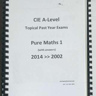 CIE A LEVEL Pure Maths 1 Topical Past year questions
