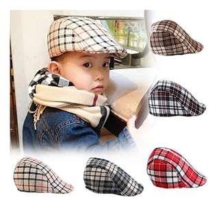 [Ready Stock] Newsboy Stylish Cap Children Boy Plaid Beret Hat