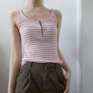 CO O Ring Pink Striped Tank Top