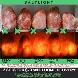 🚚 Authentic Himalayan Salt Crystal Lamps | 2 sets for $70 with home delivery | Beautify & Purify | Natural cleansing properties | 84 essential minerals for human body