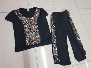 Black sequins shirt & pants
