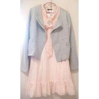 🚚 原價4480 (值得收藏 粉紅控 顯瘦)類0918甜美風 甜美粉色蕾絲時尚日風洋裝NUEE/NR/0918