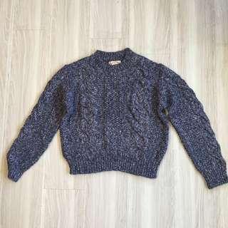 🚚 全新🇰🇷正韓韓標韓貨紫羅藍粗針織麻花長袖毛衣