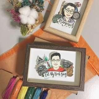 Pop-up Portrait Art Frame | Custom illustrations